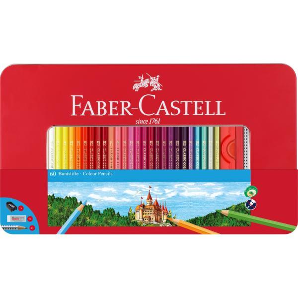 Creioane Colorate 60 Culori si Accesorii Cutie Metal Faber-Castell 0