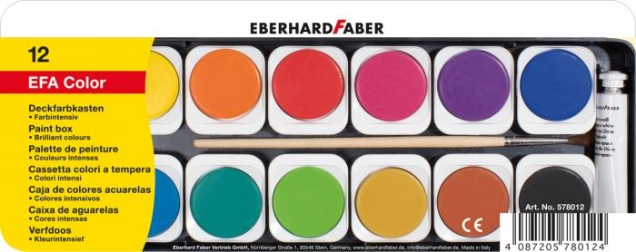ACUARELE 12 CULORI DETASABILE + PENSULA+TUB ALB EBERHARD FABER 0