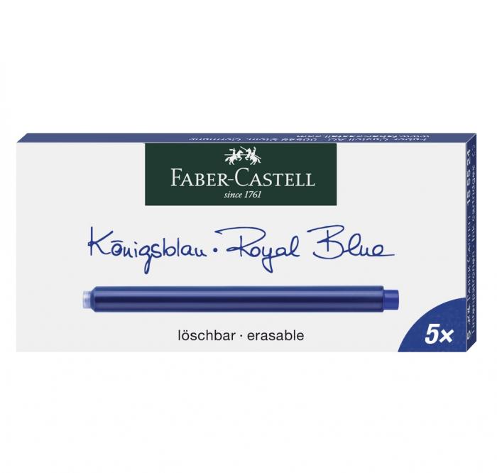 Cartuse Cerneala Mari Albastru 5 buc/cutie Faber-Castell 0
