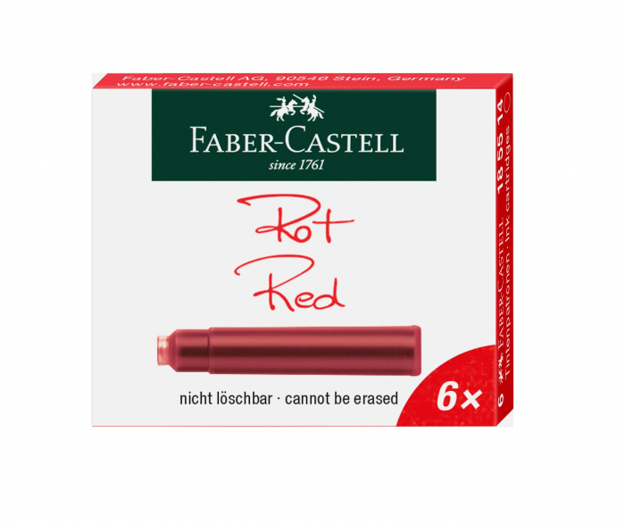 Cartuse Cerneala Mici Rosu 6 Buc/Cutie Faber-Castell 1