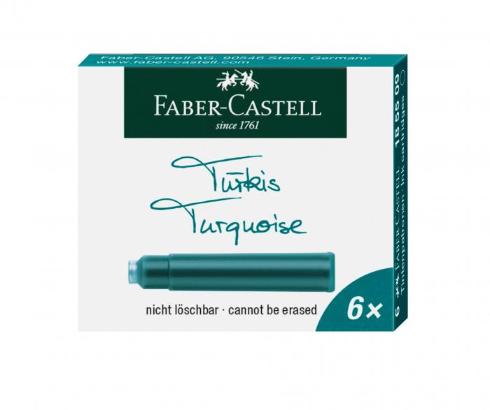 Cartuse Cerneala Mici Turcoaz 6 Buc/Cutie Faber-Castell 0