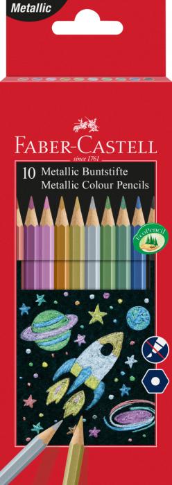 Creioane Colorate 10 Culori Metalizate Faber-Castell 0