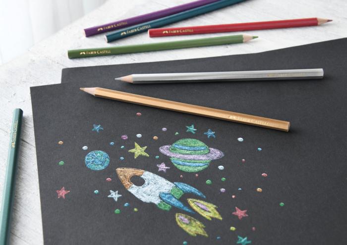 Creioane Colorate 10 Culori Metalizate Faber-Castell 1