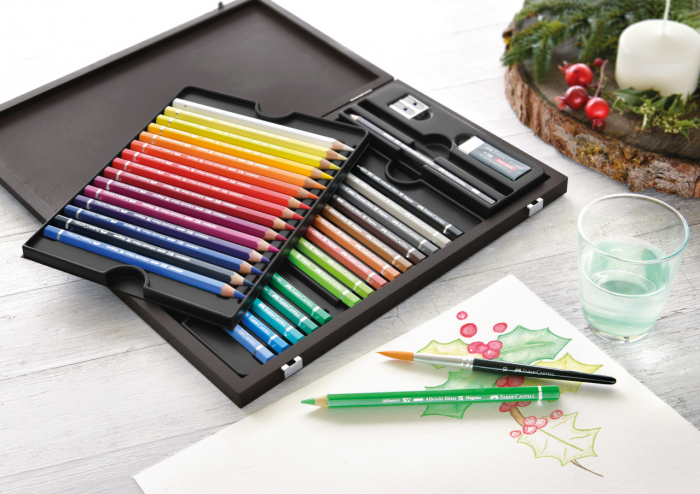 Creioane Colorate 30 Culori A.Durer Magnus Cutie Lemn Faber-Castell 1
