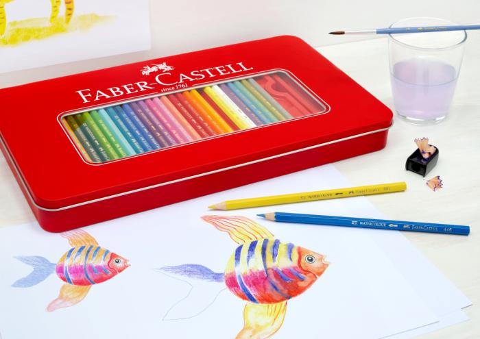 Creioane Colorate 60 Culori si Accesorii Cutie Metal Faber-Castell 1