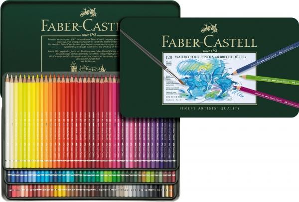 Creioane Colorate Acuarela A.Durer 120 culori, cutie metal Faber-Castell 0