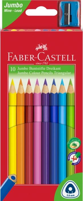 Creioane Colorate Jumbo + Ascutitoare 10 culori / cutie carton Faber-Castell 0
