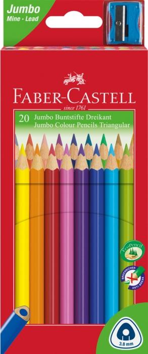 Creioane Colorate Jumbo + Ascutitoare 20 culori / cutie carton Faber-Castell 0