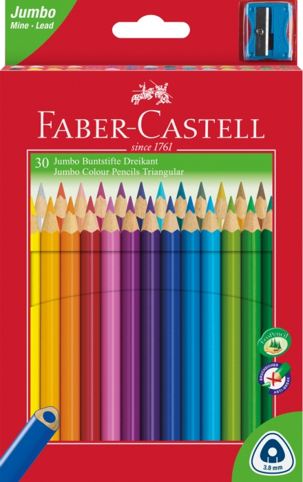 Creioane Colorate Jumbo + Ascutitoare 30 culori / cutie carton Faber-Castell 0