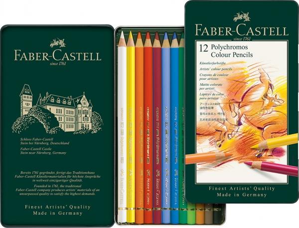 Creioane Colorate Polychromos 12 Culori Cutie Metal Faber-Castell 1