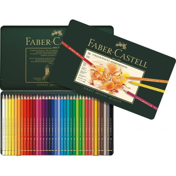 Creioane Colorate Polychromos 36 Culori Cutie Metal Faber-Castell 2