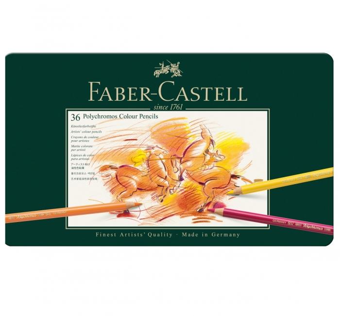 Creioane Colorate Polychromos 36 Culori Cutie Metal Faber-Castell 0