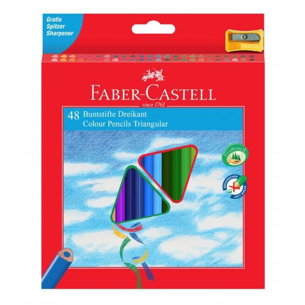 Creioane Colorate Triunghiulare Eco 48 culori cu Ascutitoare Faber-Castell 0