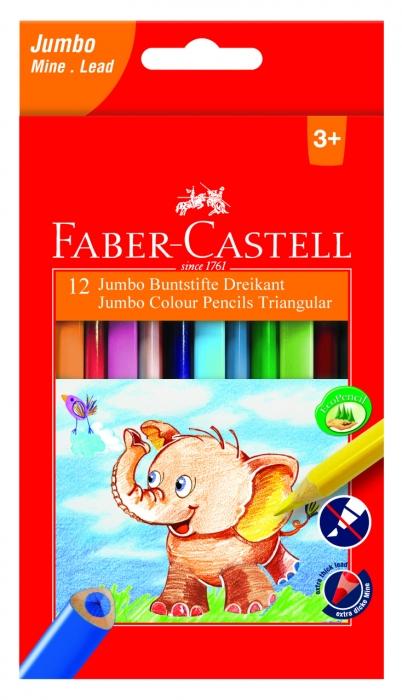 Creioane Colorate Triunghiulare Jumbo 12 culori Faber-Castell 0