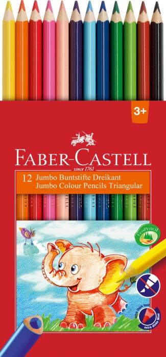 Creioane Colorate Triunghiulare Jumbo 12 culori Faber-Castell 1