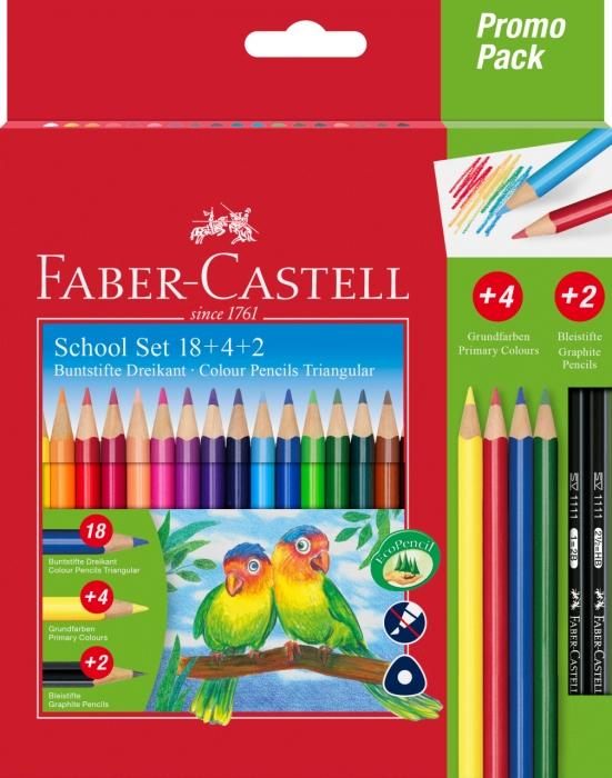 Creioane Colorate Triunghiulare 18+4+2 PROMO Faber-Castell 0