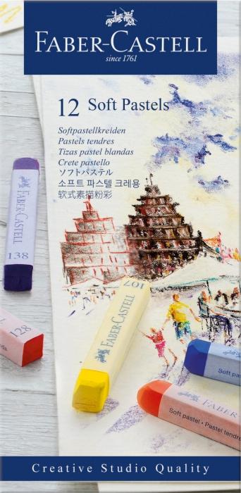 Cutie Creioane Pastel Soft 12 culori Faber-Castell 0