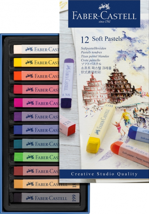 Cutie Creioane Pastel Soft 12 culori Faber-Castell 1
