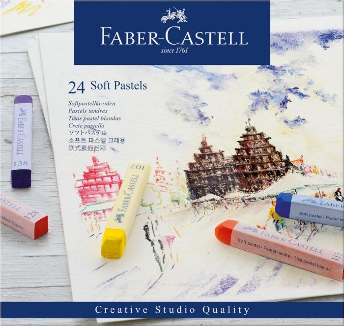 Cutie Creioane Pastel Soft 24 culori Faber-Castell 0