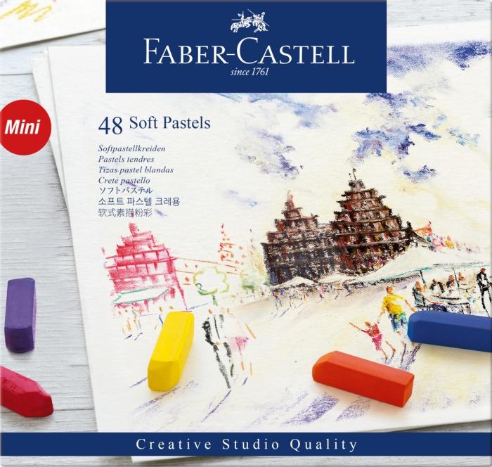 Cutie Creioane Pastel Soft Mini 48 culori Faber-Castell 0