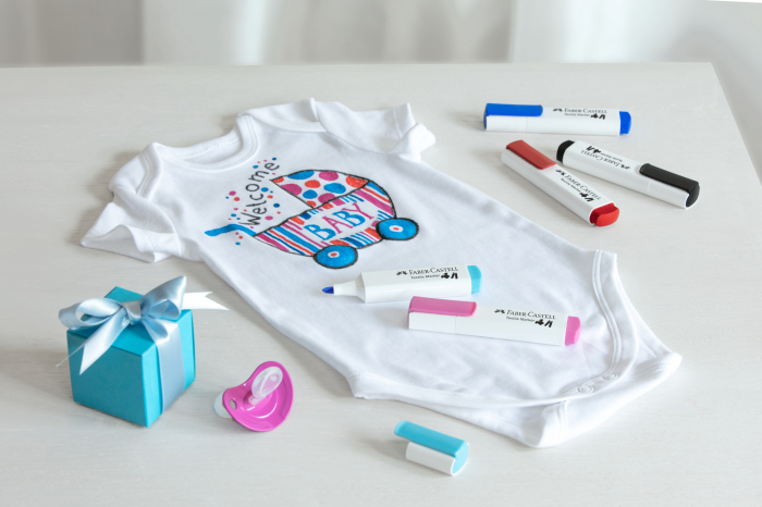 Markere Textile Blister 5 culori rosu-albastru Faber-Castell 1