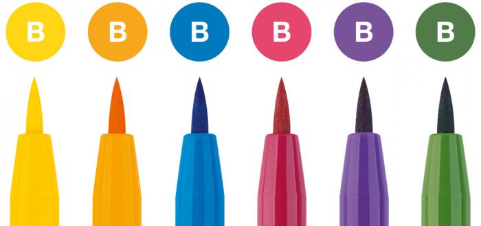 Pitt Artist Pen Set 6 buc culori de baza Faber-Castell 1