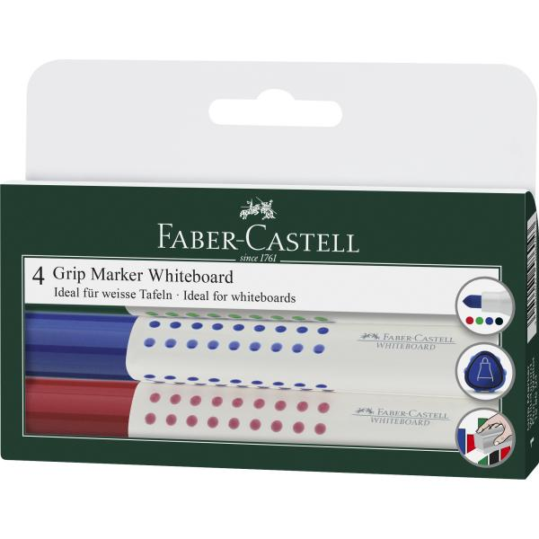 Set 4 culori Marker Whiteboard Grip 1583 Faber-Castell 0