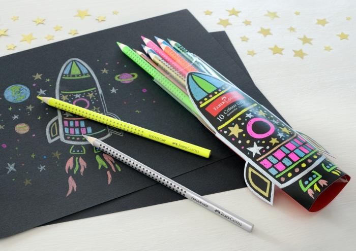 Set Cadou Racheta Creioane Colorate Grip 5 Neon + 5 Metalizate Faber-Castell