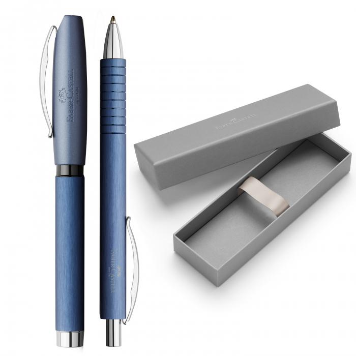 Set Cadou Stilou + Pix Essentio Aluminium Blue Faber-Castell 0