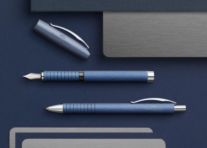 Set Cadou Stilou + Pix Essentio Aluminium Blue Faber-Castell 4