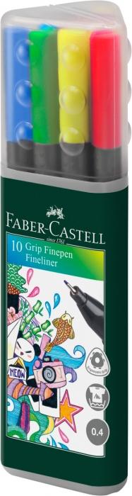Set cutie triunghiulara 10 culori Liner 0.4 mm Grip  Faber-Castell 0