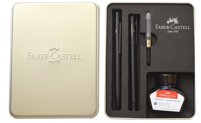 Set Stilou + Pix Neo Slim Metal Black Matt Faber-Castell 1