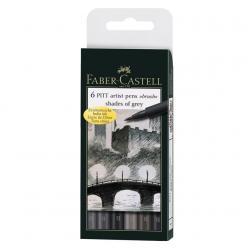 Pitt Artist Pen Set 6 buc, tonuri de gri Faber-Castell0
