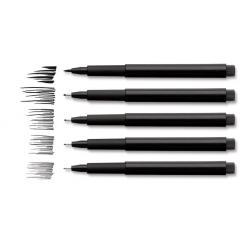 Pitt Artist Pen Negru 4 buc (S, F, M, B) etui plastic Faber-Castell3