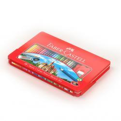 Creioane Colorate 48 Culori si 4 Accesorii Cutie Metal Faber-Castell1