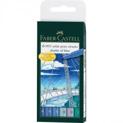 Pitt Artist Pen Set 6 Buc Albastru Faber-Castell0