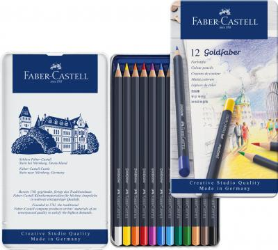 Creioane Colorate 12 Cultori Goldfaber Cutie Metal Faber-Castell2