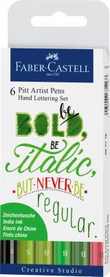PITT ARTIST PEN SET CALIGRAFIC 6 BUC VERDE Faber-Castell0