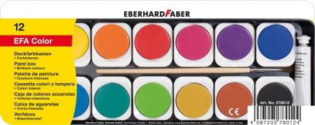 ACUARELE 12 CULORI DETASABILE + PENSULA+TUB ALB EBERHARD FABER0