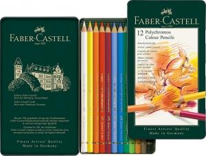 Creioane Colorate Polychromos 12 Culori Cutie Metal Faber-Castell1