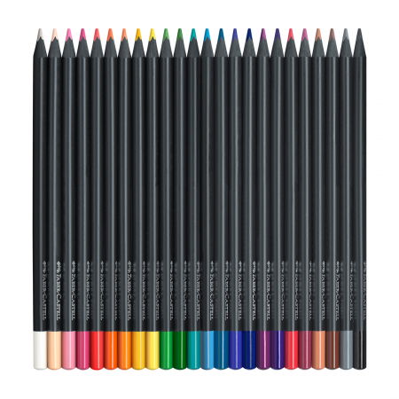 Creioane colorate triunghiulare cutie carton 24 culori Black Edition Faber Castell1