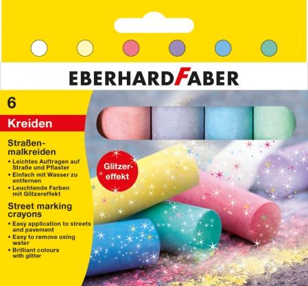 CRETA 6 CULORI GLITTER DESEN ASFALT EberhardFaber0