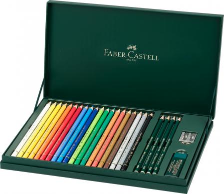 Set Cadou 20 Creioane Collorate Polychromos+Accesorii Faber-Castell1