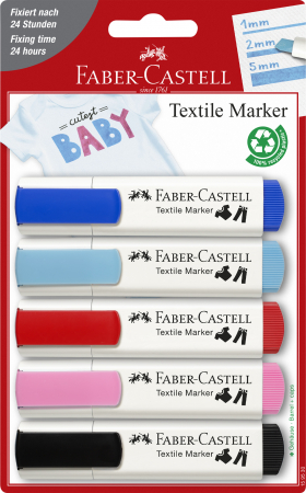 Markere Textile Blister 5 culori rosu-albastru Faber-Castell0