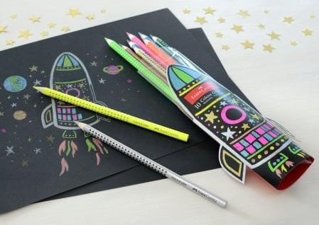 Set Cadou Racheta Creioane Colorate Grip 5 Neon + 5 Metalizate Faber-Castell2