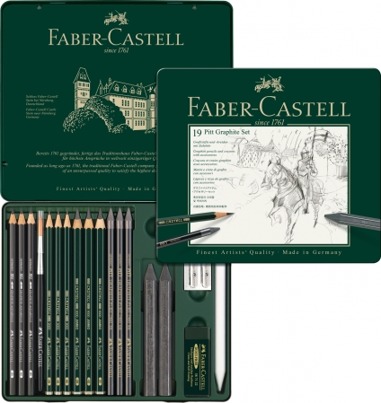 Set Pitt Monochrome Grafit 19 Buc Faber-Castell0