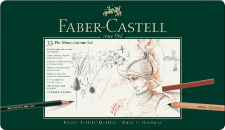 Set Pitt Monochrome Grafit+Carbune+Pastel 33 Buc Faber-Castell1