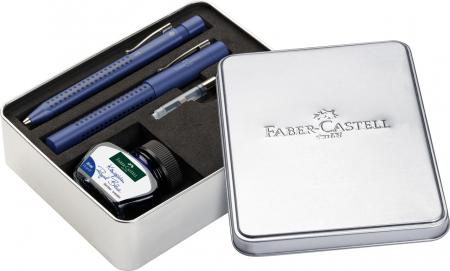 Set Stilou + Pix Grip 2011 Albastru + Convertor + Calimara in Cutie Metalica Faber-Castell0