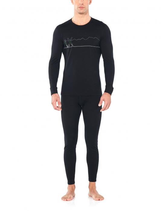 Bluza de corp barbati ICEBREAKER 200 Oasis LS Crewe Single Line Ski neagra [3]
