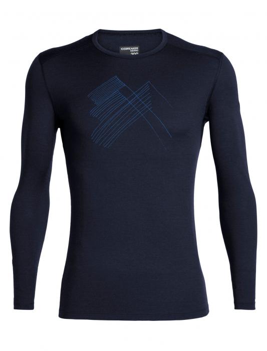 Bluza de corp barbati ICEBREAKER 200 Oasis LS Crewe Snap Head bleumarin [0]